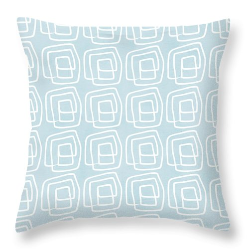 Boho Throw Pillow featuring the painting Out of The Box blue and white pattern by Linda Woods