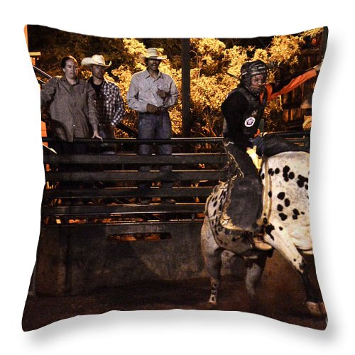 Bull Riding Throw Pillow featuring the photograph Out Of The Gate by Tommy Anderson