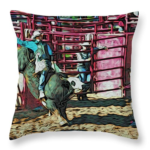 Bullrider Throw Pillow featuring the photograph Out The Chute by Alice Gipson