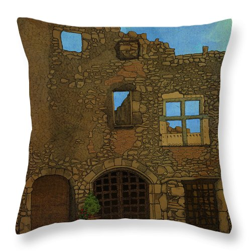 Ruin Alsace Wall Architecture Throw Pillow featuring the drawing Out There by Meg Shearer