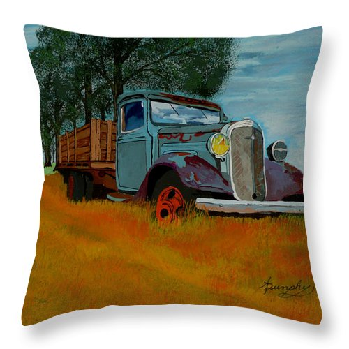 Truck Throw Pillow featuring the painting Out To Pasture by Anthony Dunphy
