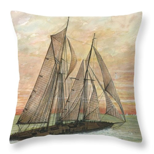 Sailboat; Ocean; Sunset Throw Pillow featuring the painting Out To Sea by Ben Kiger