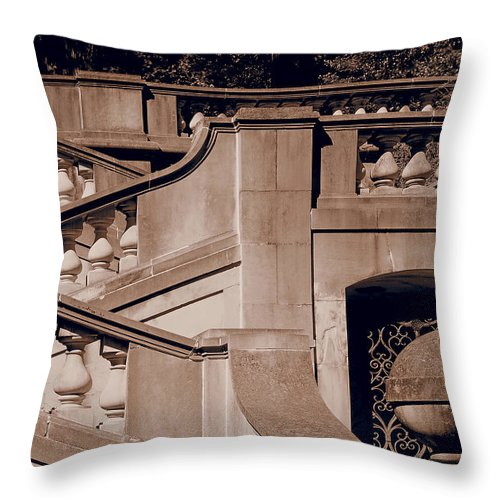Stairway Throw Pillow featuring the photograph Outdoor Estate Stairway In Sepia by Donna Haggerty