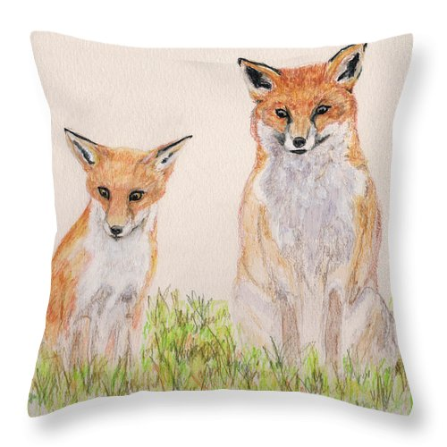 Animal Throw Pillow featuring the painting Outfoxed by Stephanie Grant