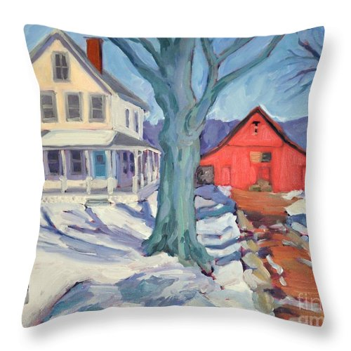 Snow Scene Throw Pillow featuring the painting Outgoing Mail At The Farm by Sylvina Rollins