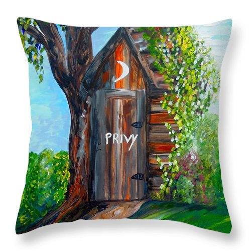 Out House Throw Pillow featuring the painting Outhouse - Privy - The Old Out House by Eloise Schneider Mote