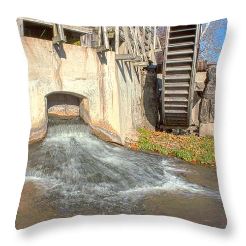 Mansfield Mill Photographs Throw Pillow featuring the photograph Outlet On The Mill by Thomas Sellberg