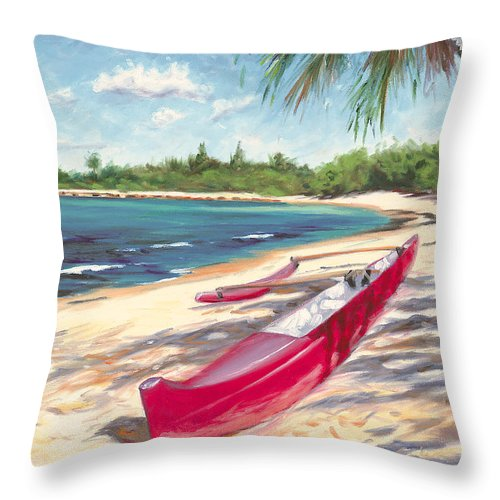 Outrigger Throw Pillow featuring the painting Outrigger - Haleiwa by Steve Simon