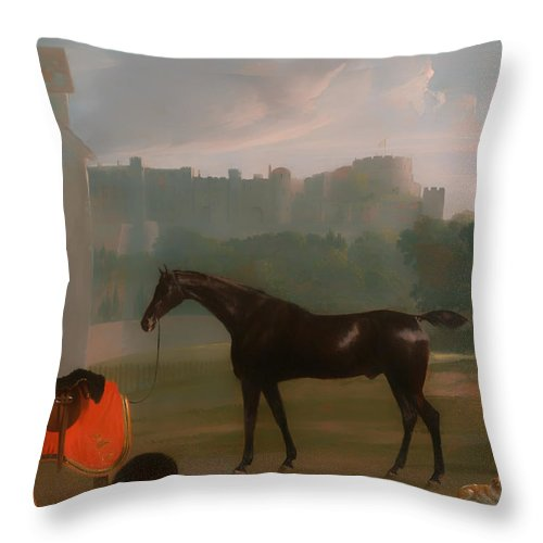 Painting Throw Pillow featuring the painting Outside The Guardhouse At Windsor by Mountain Dreams