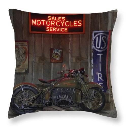 Motorcycle Shop Throw Pillow featuring the photograph Outside The Motorcycle Shop by Mike McGlothlen