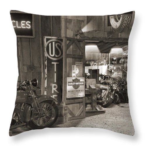 Motorcycle Throw Pillow featuring the photograph Outside The Old Motorcycle Shop - Spia by Mike McGlothlen