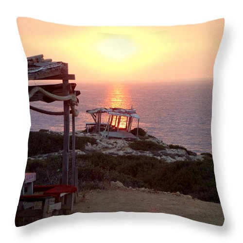 Sun Throw Pillow featuring the photograph The Sun Shines Over My Dead Roof by Hilde Widerberg