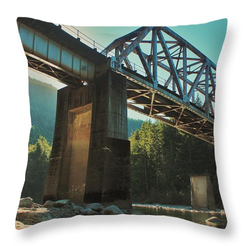 Bnsf Throw Pillow featuring the photograph Over Rails by Benjamin Yeager
