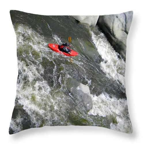 Kayak Throw Pillow featuring the photograph Over The Falls by Frank Wilson
