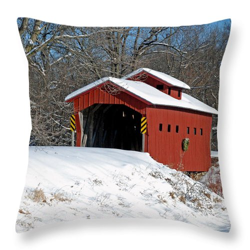 Covered Bridge Throw Pillow featuring the photograph Over The River ..we Go by Janice Adomeit