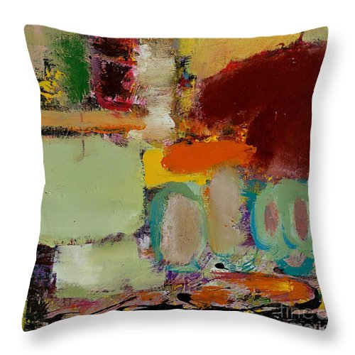 Landscape Throw Pillow featuring the painting Over There by Allan P Friedlander