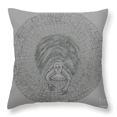 Overcoming Throw Pillow featuring the drawing Overcoming With Description by Gerald Strine