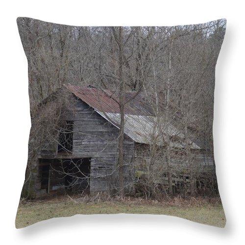 Western North Carolina Winter Cherokee County Murphy Barn Horsebarn Woods Old Overgrown Throw Pillow featuring the photograph Overgrown Old Horse Barn by John Wall