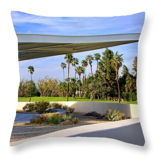 Palm Springs Throw Pillow featuring the photograph OVERHANG Palm Springs Tram Station by William Dey