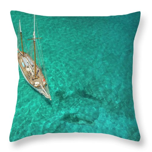 Sailboat Throw Pillow featuring the photograph Overhead View Of A Sailboat, Caribbean by Skyhighstudios