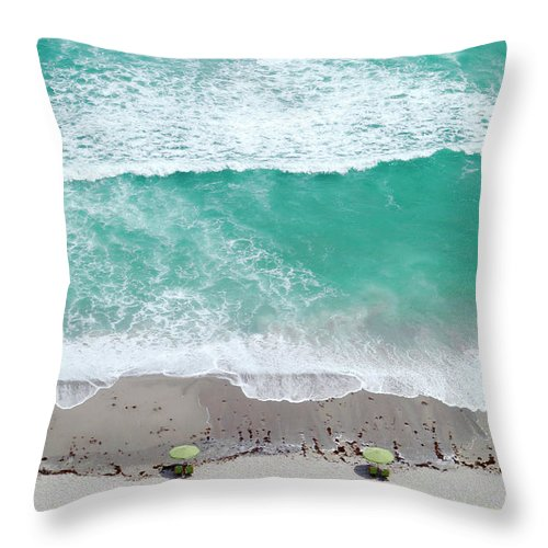 Vacations Throw Pillow featuring the photograph Overhead Wide Angle Of The Beach by Bauhaus1000