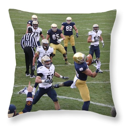 Notre Dame Navy College Football Throw Pillow featuring the photograph Overlead by Michael Cressy