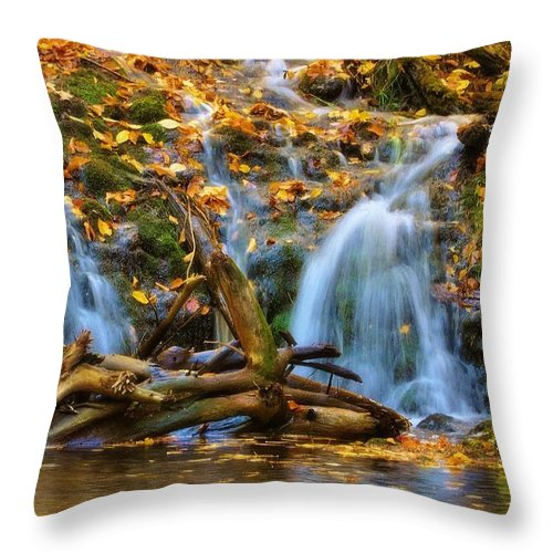 Overlooked Falls Throw Pillow featuring the photograph Overlooked Falls In The Porkies by Kathryn Lund Johnson