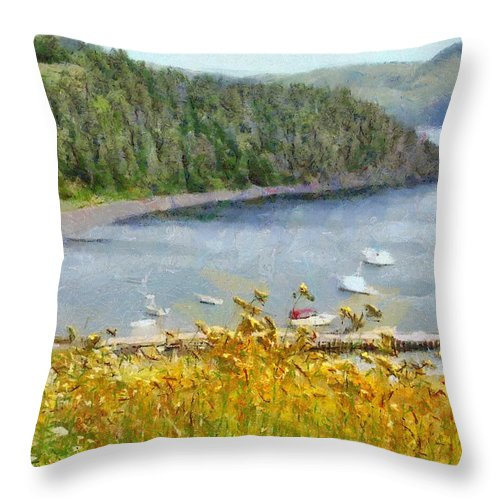 Canadian Throw Pillow featuring the painting Overlooking the Harbor by Jeffrey Kolker