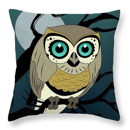 Owl Throw Pillow featuring the digital art Owl 3 by Mark Ashkenazi