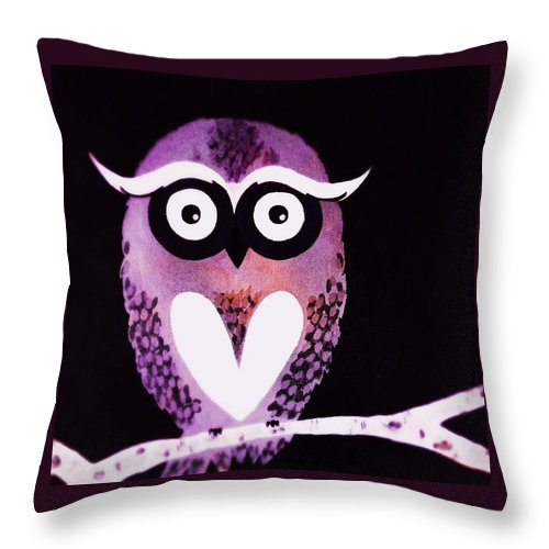 Owl Throw Pillow featuring the painting Owl 3 by Sarah Jane Thompson