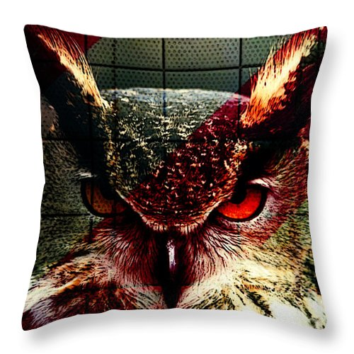 Owl Mixed Media Throw Pillow featuring the mixed media Owl By Day Owl By Night by Marvin Blaine