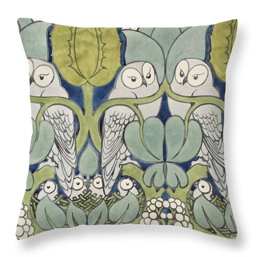 Textile Or Wallpaper Design Throw Pillow featuring the painting Owls, 1913 by Charles Francis Annesley Voysey