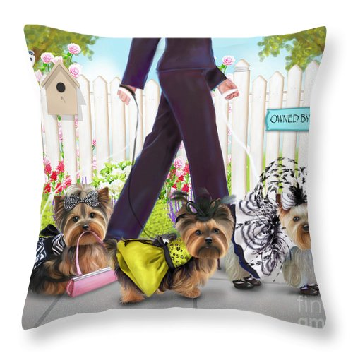 Yorkies Throw Pillow featuring the painting Owned By Yorkies by Catia Lee