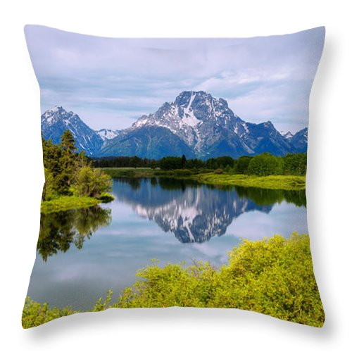 Oxbow Summer Throw Pillow featuring the photograph Oxbow Summer by Chad Dutson