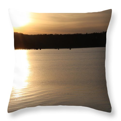 Oyster Bay Sunset Throw Pillow featuring the photograph Oyster Bay Sunset by John Telfer