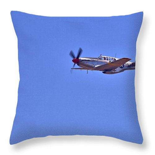 9184 Throw Pillow featuring the photograph P-51 Overhead by Gordon Elwell