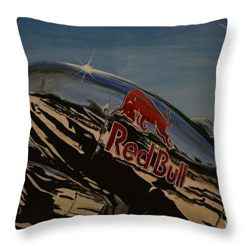 Warbirds Throw Pillow featuring the painting P38 Red Bull Lightning Warbird by Richard John Holden RA