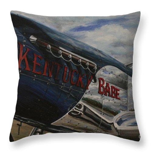 Warbirds Throw Pillow featuring the painting P51 Mustang Kentucky Babe Warbird by Richard John Holden RA