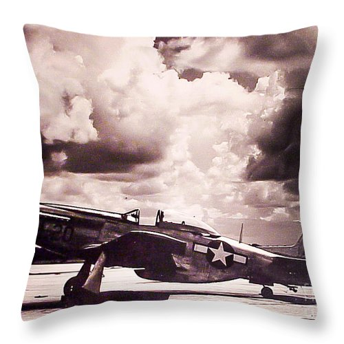 P51 Throw Pillow featuring the photograph P51 Ray Of Hope by Shawn MacMeekin
