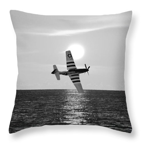 Mustang Throw Pillow featuring the photograph P51d Sunset Black And White by John Black