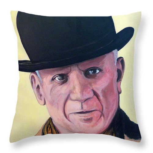 Pablo Picasso Throw Pillow featuring the painting Pablo Picasso by Tom Roderick
