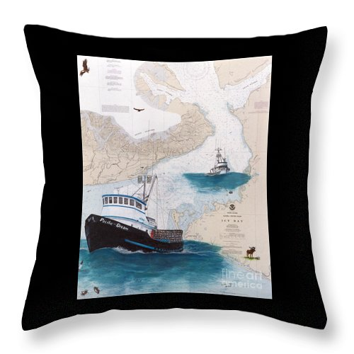 Pacific Throw Pillow featuring the painting Pacific Dream Crab Fishing Boat Nautical Chart Art by Cathy Peek