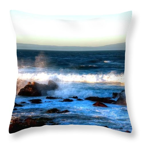 Monterey Throw Pillow featuring the photograph Pacific Grove Surf 19894 by Jerry Sodorff