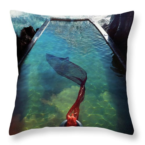 Human Arm Throw Pillow featuring the photograph Pacific Islander Woman In Mermaid by Colin Anderson Productions Pty Ltd
