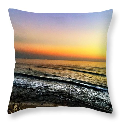 Beach Throw Pillow featuring the photograph Pacific Palisades California by Artemisa