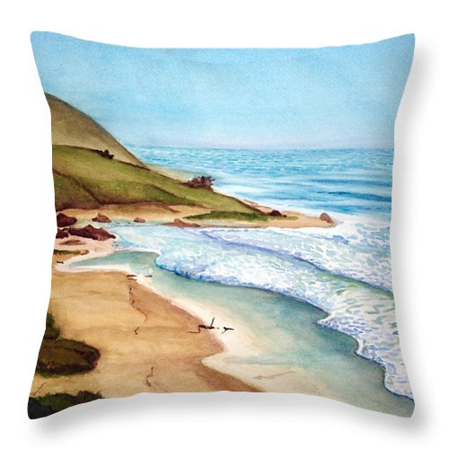 Rick Huotari Throw Pillow featuring the painting Pacific by Rick Huotari