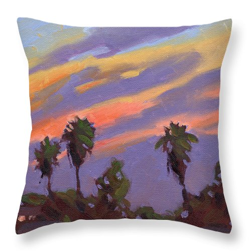 Sunset Throw Pillow featuring the painting Pacific Sunset 1 by Konnie Kim