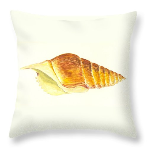 Sea Throw Pillow featuring the painting Pacific Triton Sea Shell by Michael Vigliotti