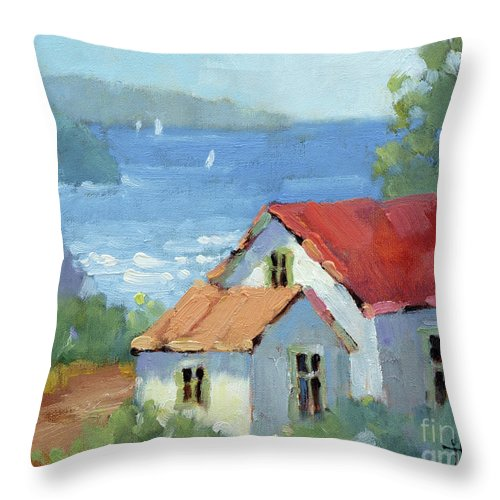 Impressionism Throw Pillow featuring the painting Pacific View Cottage by Joyce Hicks