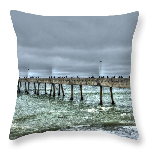 Beach Throw Pillow featuring the photograph Pacifica Fishing Pier 7 V2 by SC Heffner